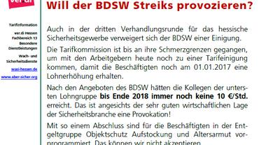 Flugblatt - BDSW verweigert sich einer Tarifeinigung für 2017/2018 im hessischen Sicherheitsgewerbe