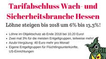 Tarifabschluss Wach- und Sicherheitsdienste Hessen 2017-2018