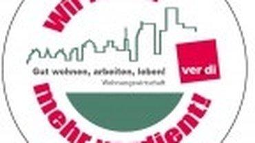 """Button """"Wir haben mehr verdient"""" Entgeltrunde Wohnungswirtschaft 2017"""